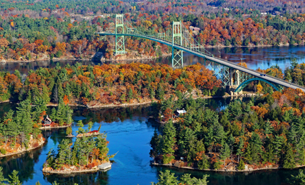 Aerial image of the 1000 Islands International bridge and the fall colours