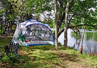 Camping tent on an island