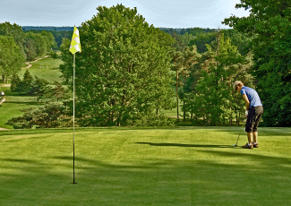 Golfer putting towards yellow flag in the hole